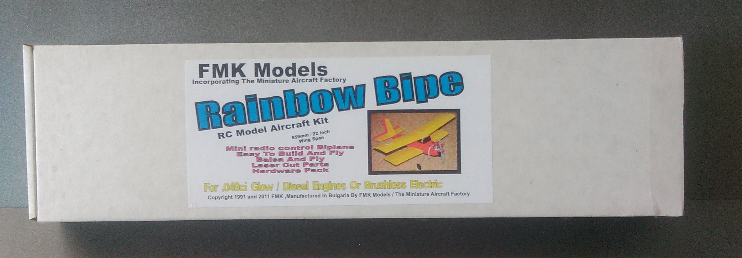 FMK Models Rainbow Bipe laser cut kit ( parts photo )( Miniature Aircraft Factory ) KIt for Cox 049 or brushless electric
